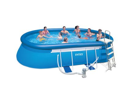 Piscine intex ellipse ovale 5 49x3 05x1 07 cash piscines for Cash piscine kit
