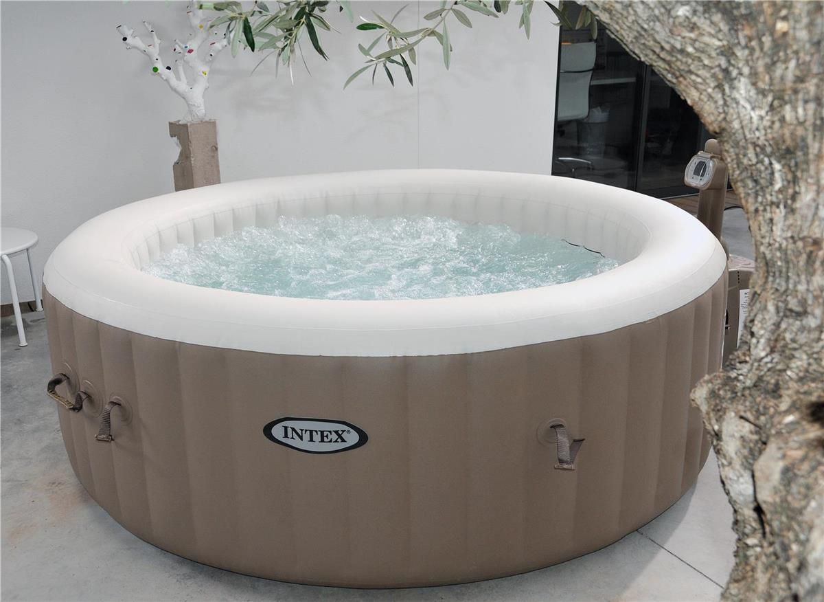 Spa gonflable intex purespa rond 4pl bulles beige cash for Avis cash piscine